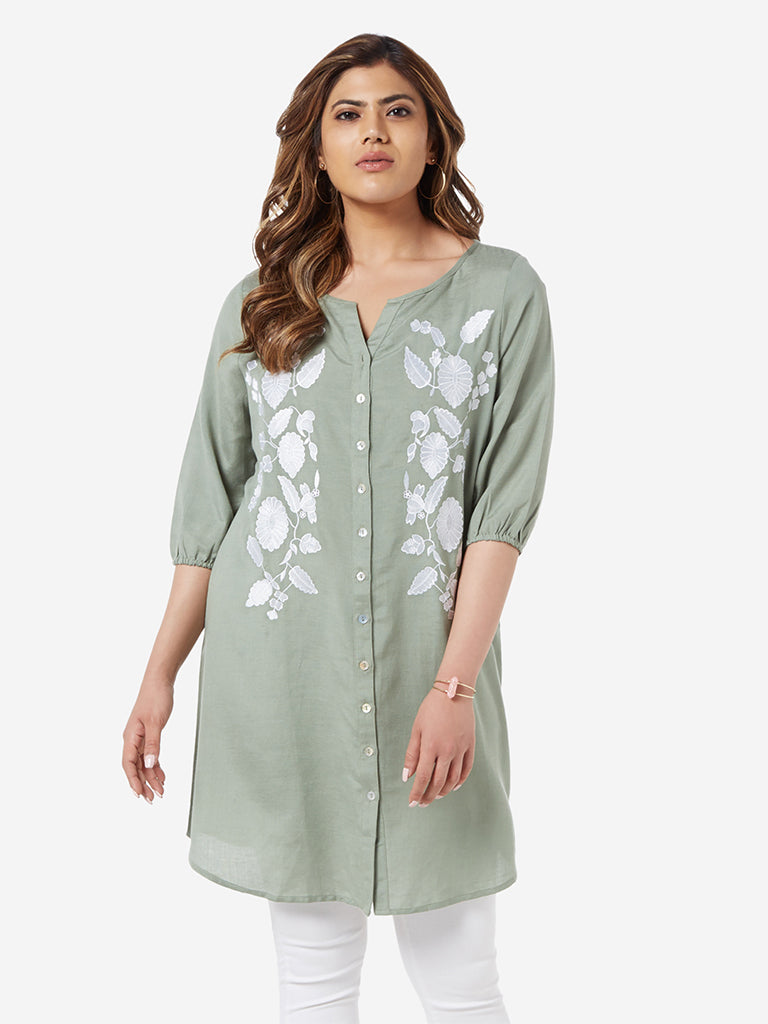 Gia Curve Sage Green Embroidered Marcia Tunic