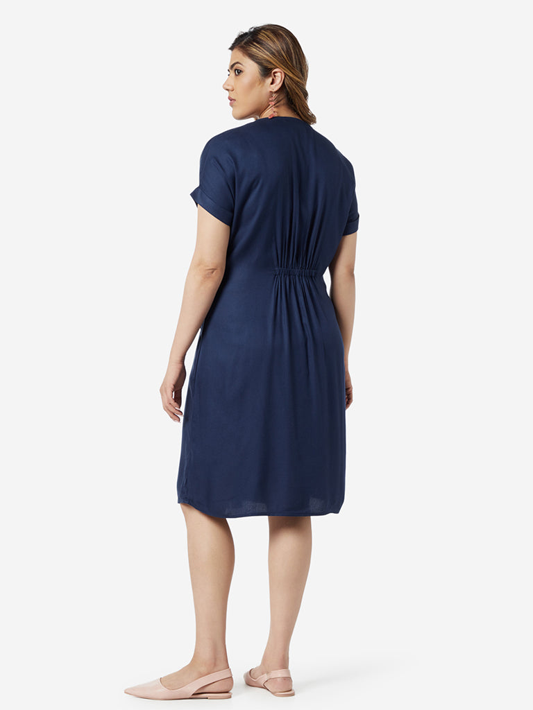 Gia Curve Navy Zink Dress