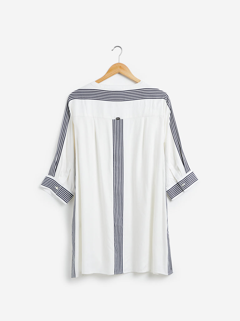 Gia Curves White Stripe Detailed Tunic