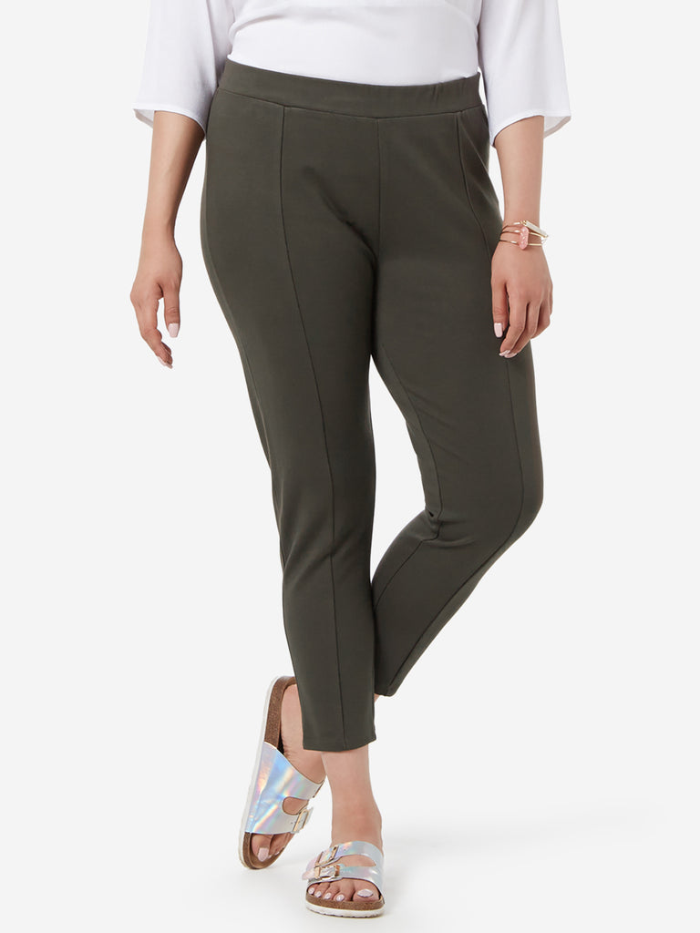 Gia Curve Olive Cropped Neo Ponte Pants