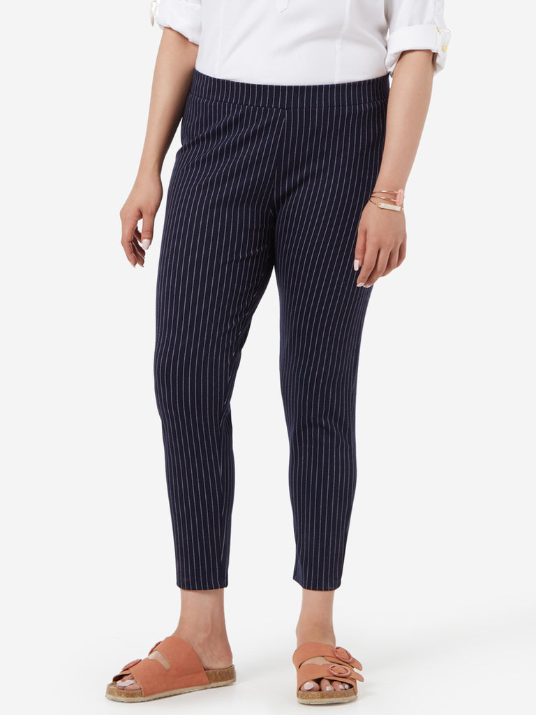 Gia Curve Navy Striped Cropped Ponte Pants