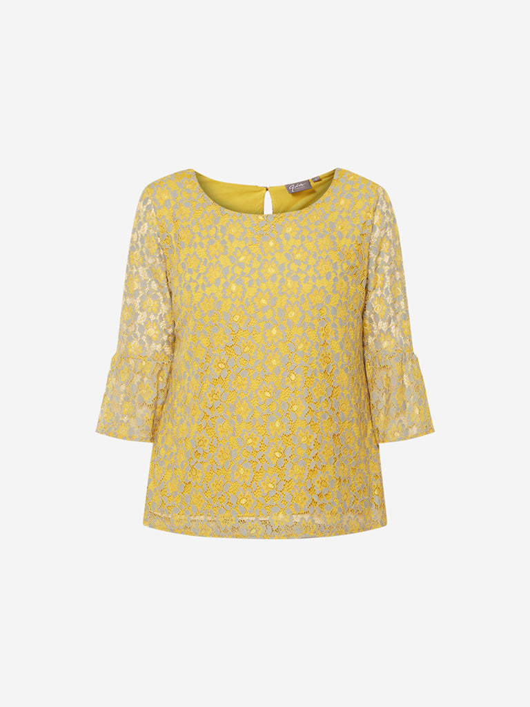 Gia Curve Ochre Floral Lace Dorothy Top