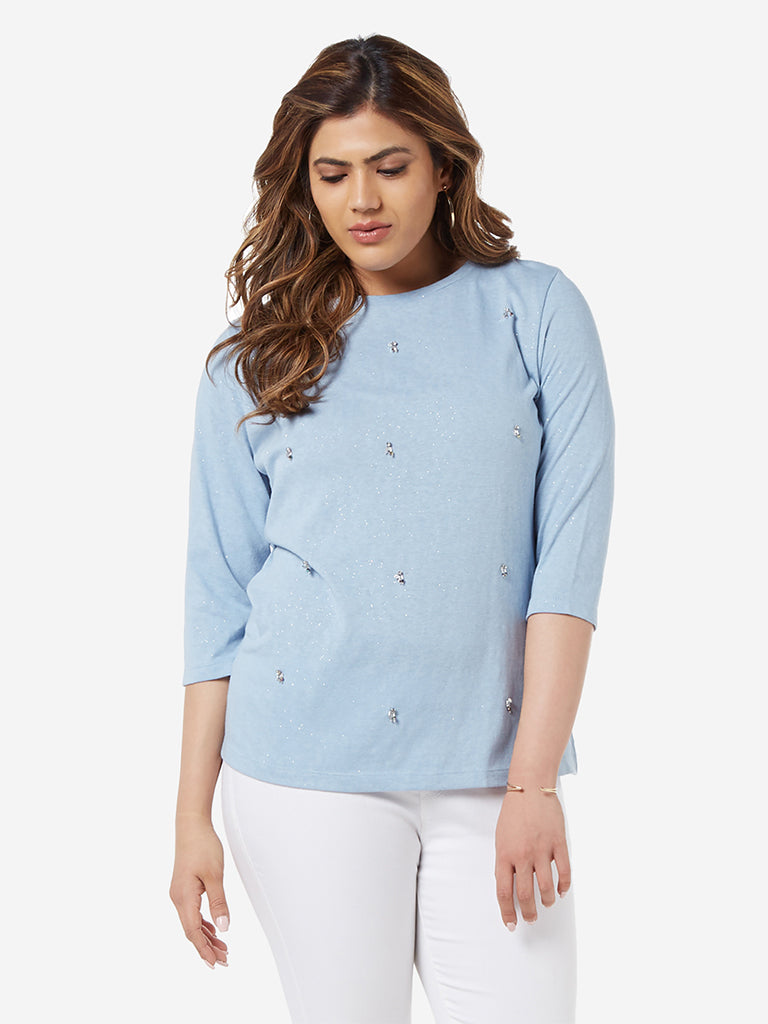 Gia Curve Light Blue Shimmer Detailed Joy Top