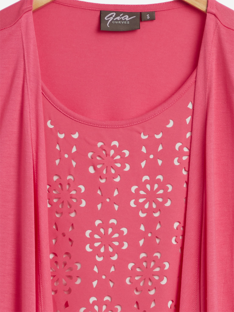 Gia Curves Pink Cut-Out Detailed Rovina Top
