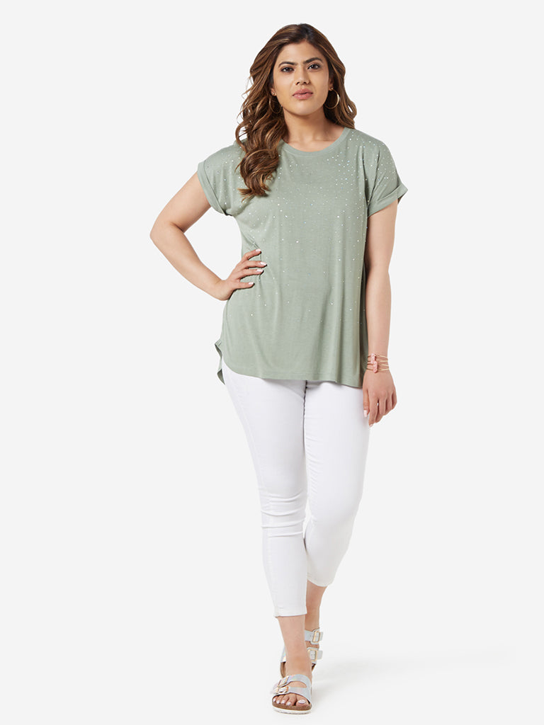 Gia Curve Sage Green Rhinestone Detailed Top