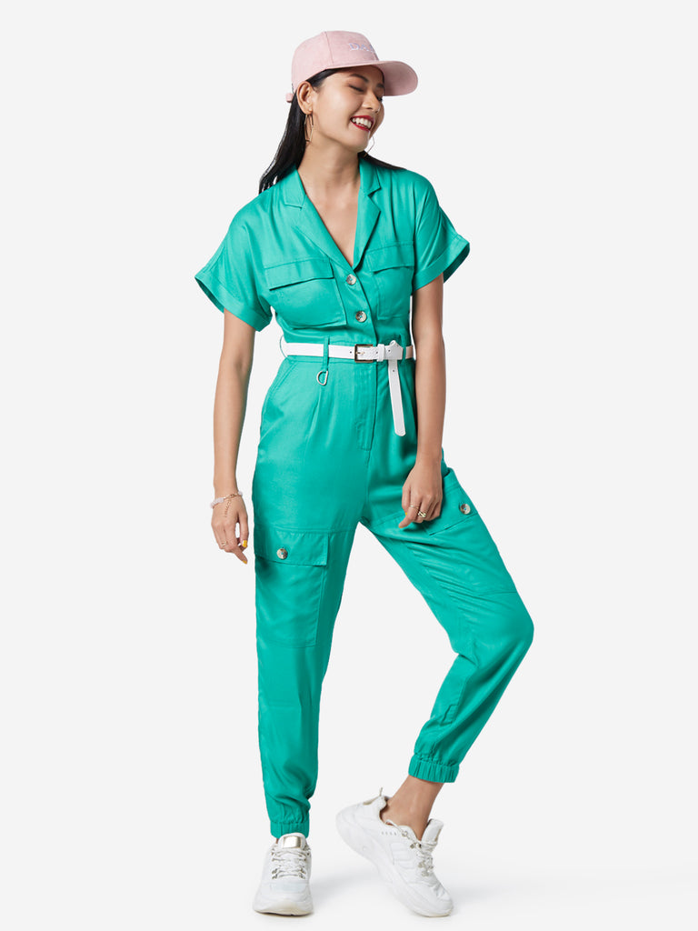Nuon Green Cargo-Style Jumpsuit With Belt