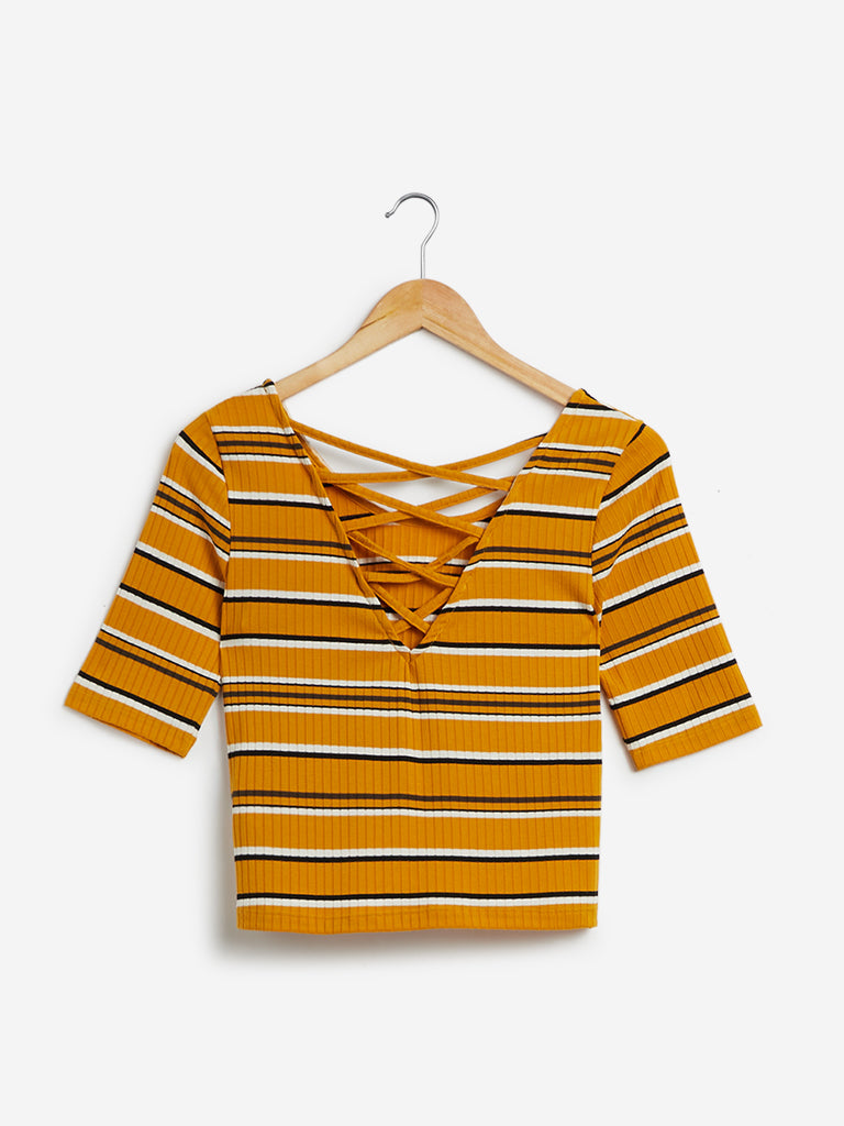 Nuon Mustard Striped Thomas Crop-Top