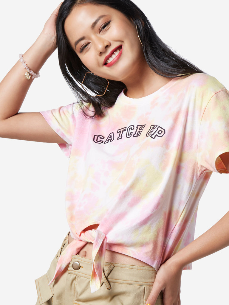 Nuon Multicolour Tie-Dye Cropped Erica T-Shirt