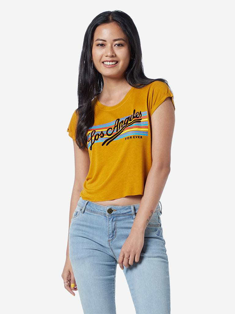 Nuon Mustard Typographic Olix Cropped T-Shirt