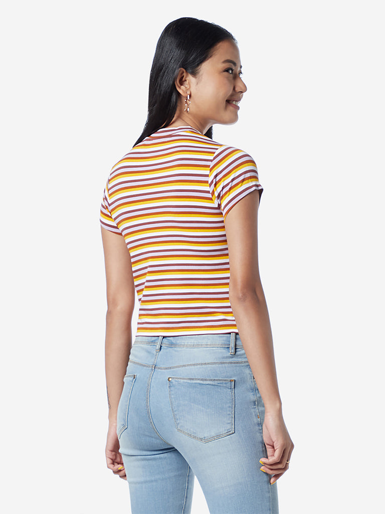 Nuon Multicolour Striped Adora Cropped T-Shirt
