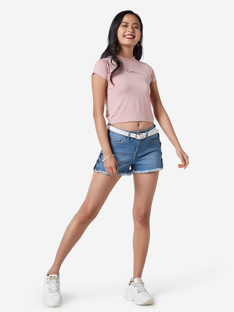 Nuon Dull Pink Adora Cropped T-Shirt