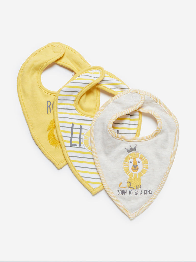 Baby HOP Yellow Lion Patterned Bibs Set Of Three