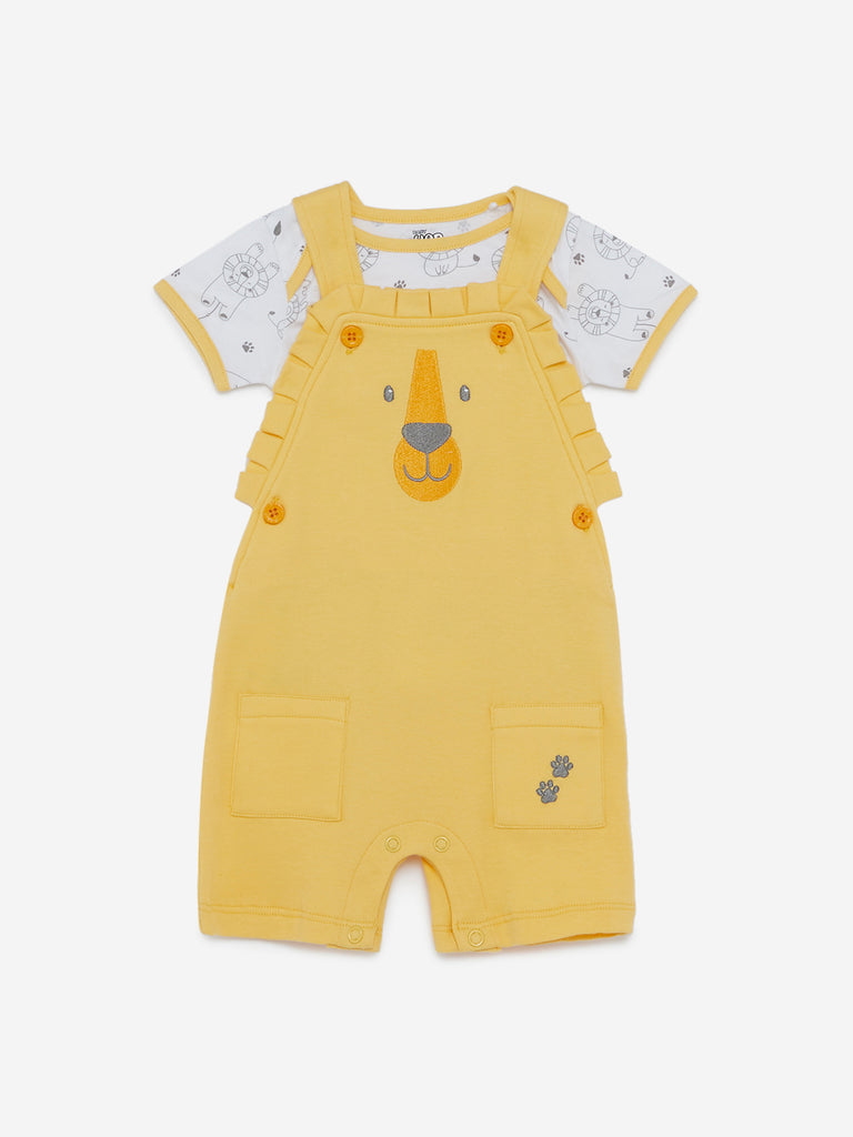 Baby HOP Yellow Denis Dungaree And T-Shirt Set