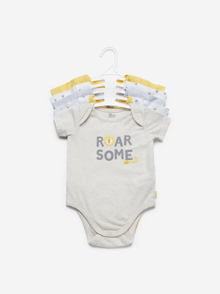 Baby HOP Yellow Lion Printed Onesies Set Of Five