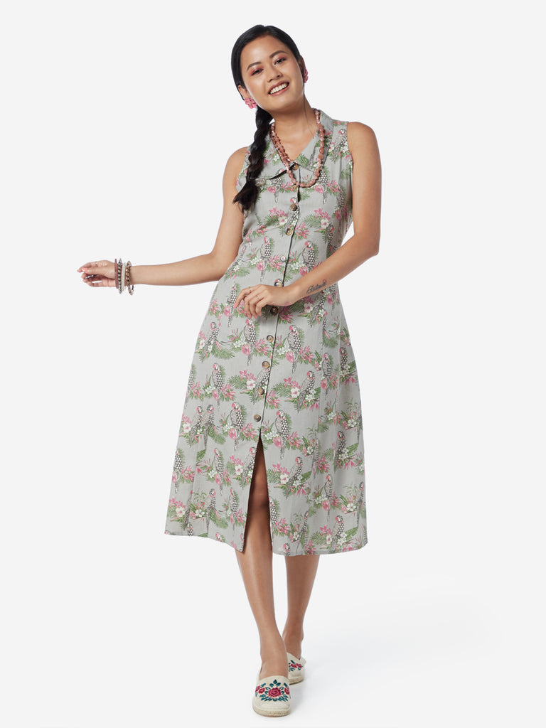 Bombay Paisley Grey Parrot A-Line Shirtdress