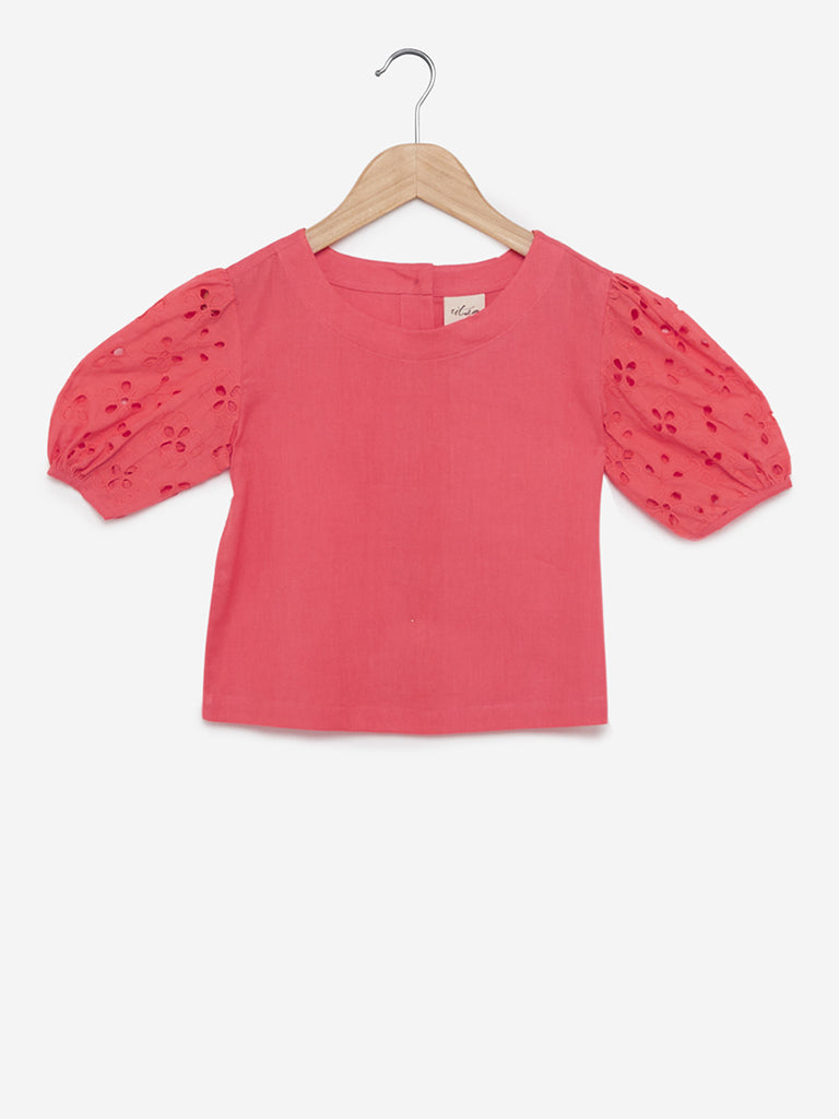 Utsa Kids Coral Broderie Anglaise Puffed Sleeves Top