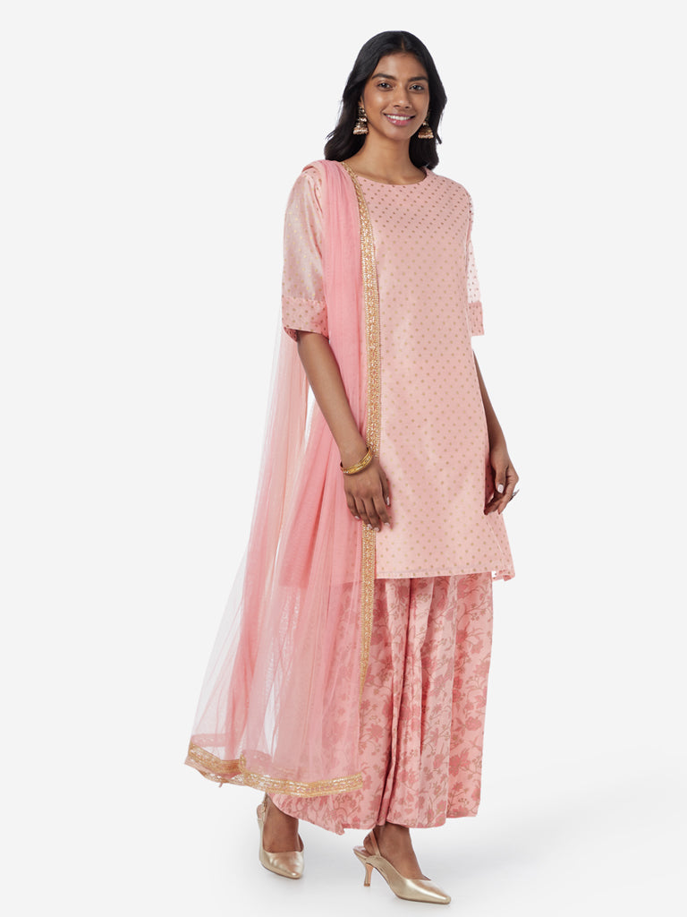 Vark Peach Printed Kurta and Palazzos Set