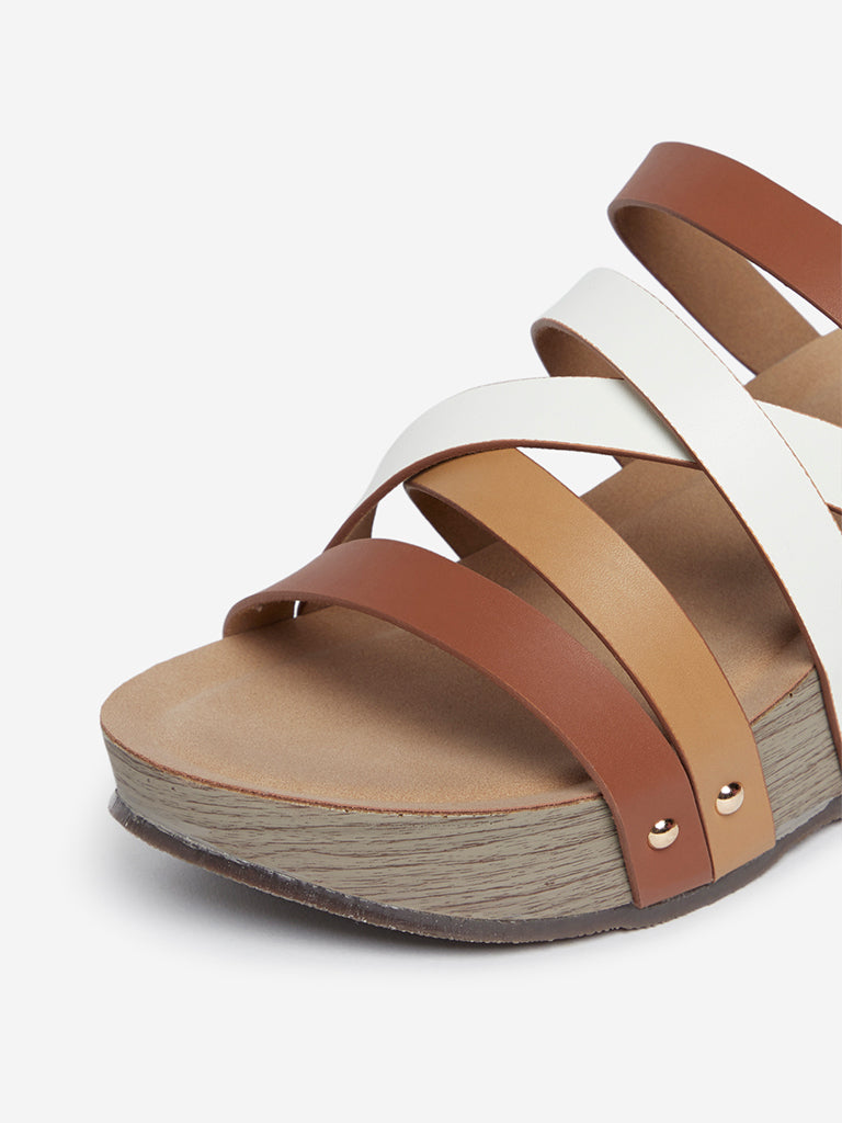 LUNA BLU Tan Criss-Cross Strap Wedge Sandals