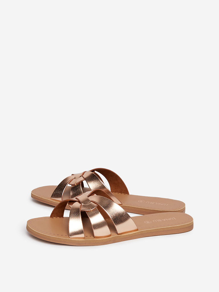 LUNA BLU Rose Gold Slides