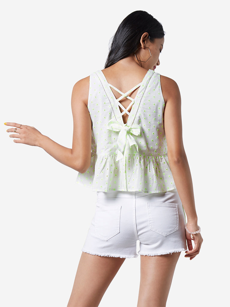 Nuon White Broderie Anglaise Ray Crop-top
