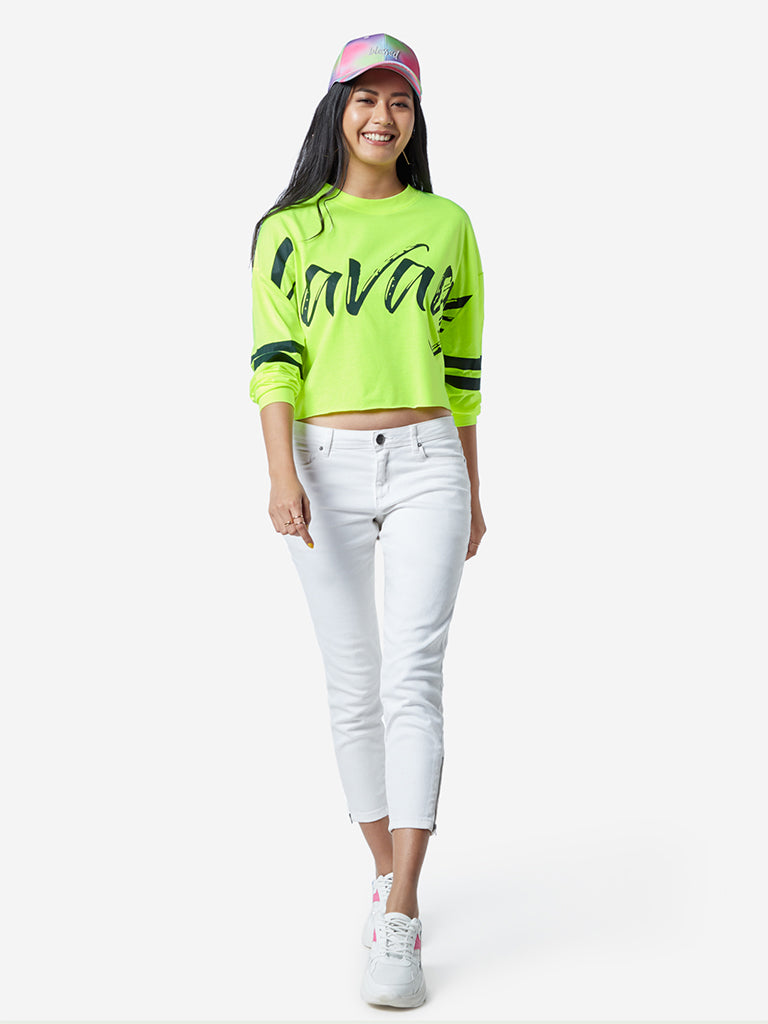 Nuon Neon Green Text Print Cropped T-Shirt