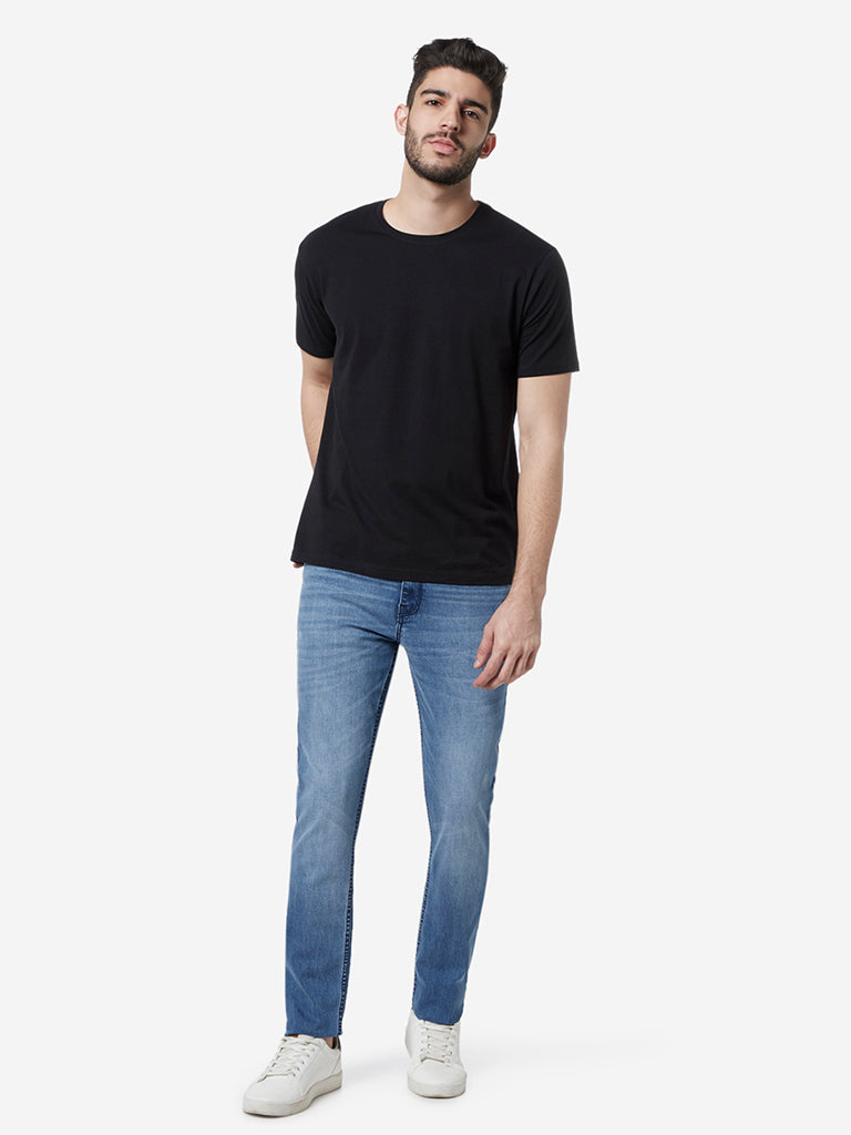 WES Casuals Blue Whiskered Slim Fit Jeans