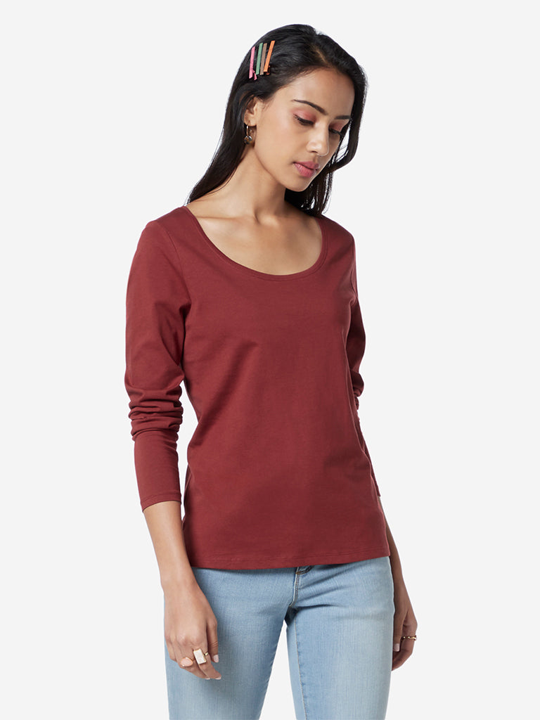 LOV Maroon Pure Cotton Chelsea T-Shirt