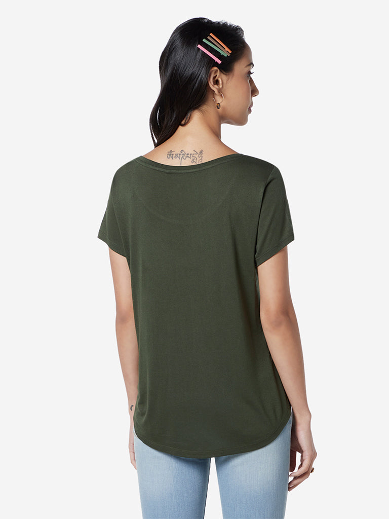 LOV Khaki Graphic Print T-Shirt