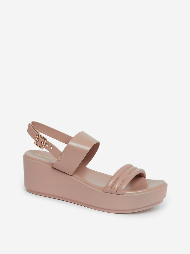 LUNA BLU Light Pink Wedge Heel Sandals