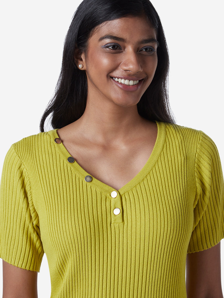 Wardrobe Lime Ribbed Top