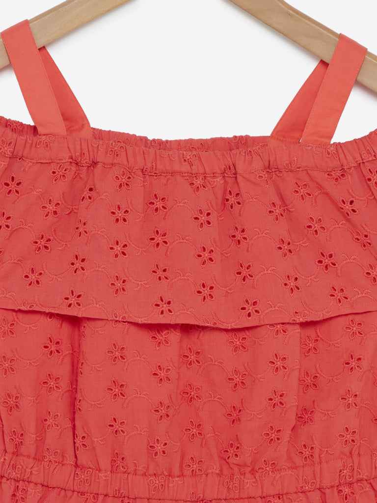Y&F Kids Coral Cold-Shoulder Dress