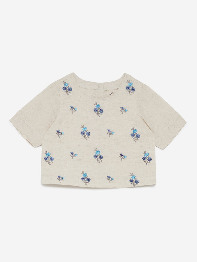 Utsa Kids Off White Floral Embroidered Crop-Top