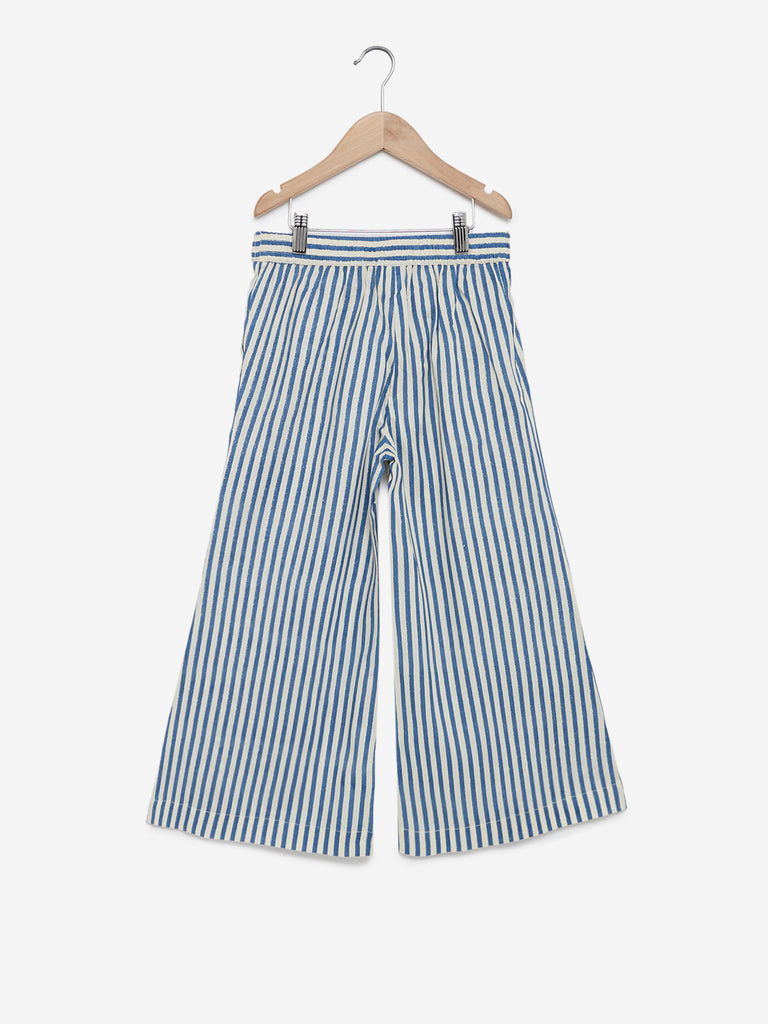 Utsa Kids Off White Striped Palazzos