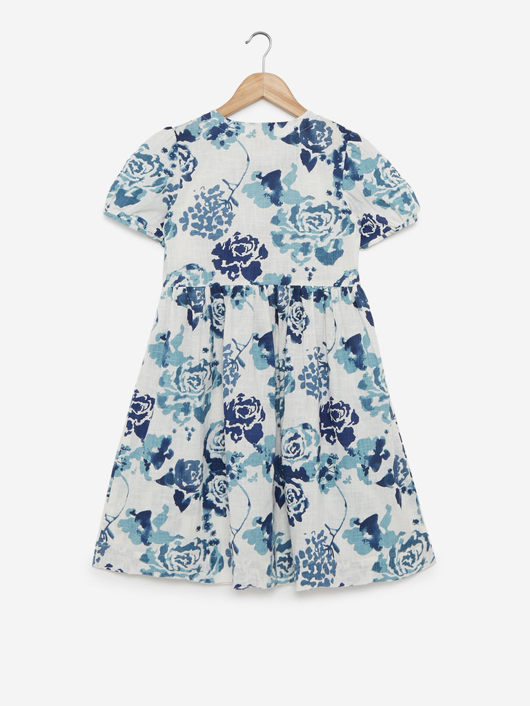 Utsa Kids Blue Floral Fit-And-Flare Dress
