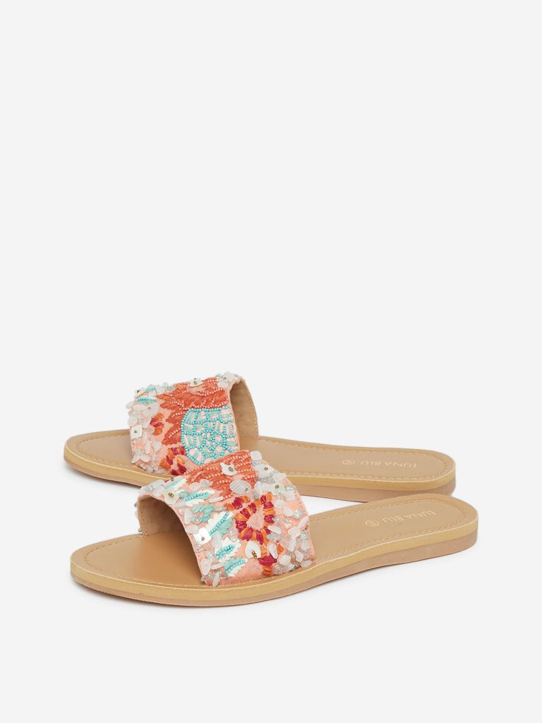 Luna Blu Multicolour Embellished Slides