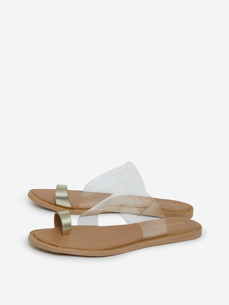LUNA BLU Gold Toe Ring Sandals