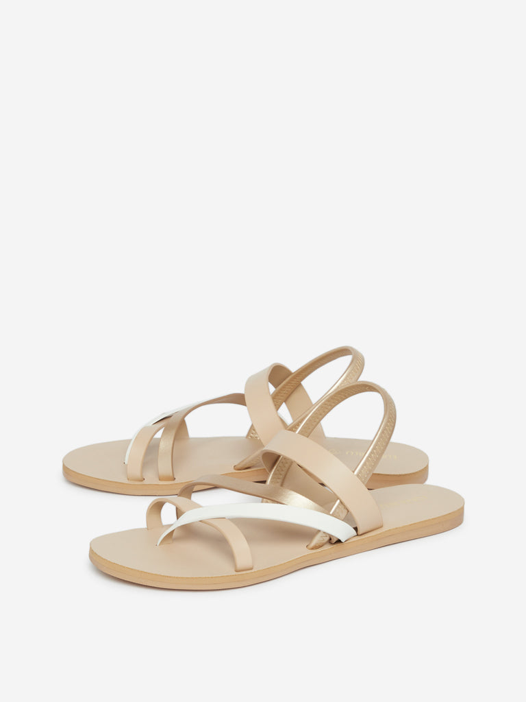 Luna Blu Beige Strapped Sandals