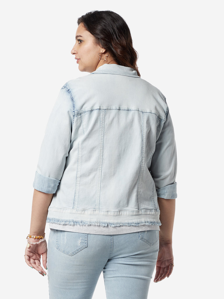 Sassy Soda Curves Light Blue Tucker Denim Jacket
