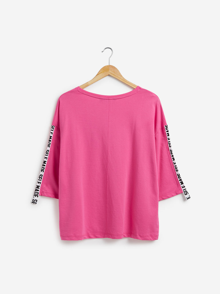 Sassy Soda Curve Pink Text Print Hally Top