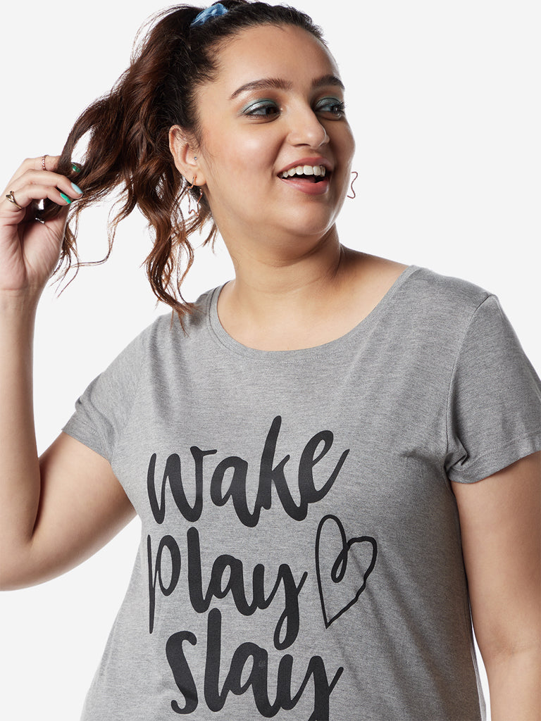 Sassy Soda Curves Grey Melange Edna T-Shirt