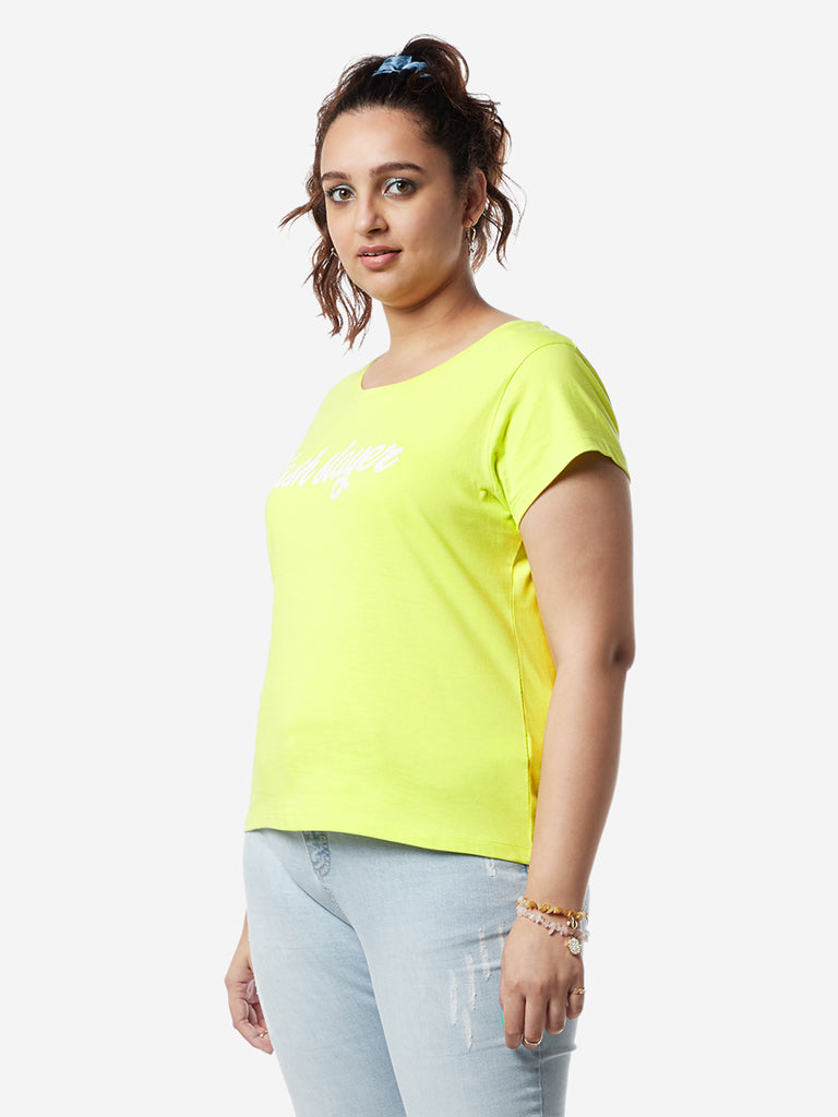 Sassy Soda Curves Lime Green Printed Edna T-Shirt