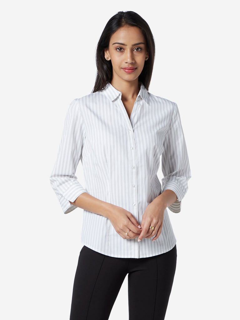 Wardrobe White Striped Formal Shirt