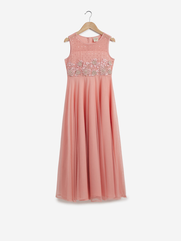 Utsa Kids Peach Embroidered Maxi Dress