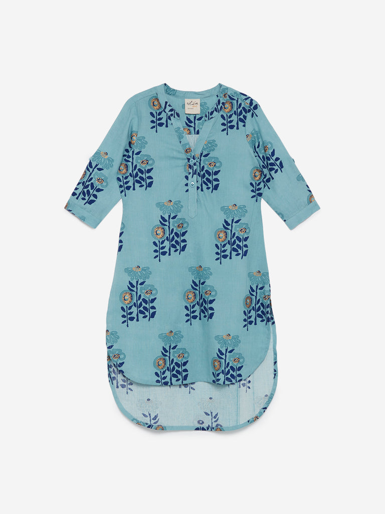 Utsa Kids Blue Floral Print High-Low Kurta