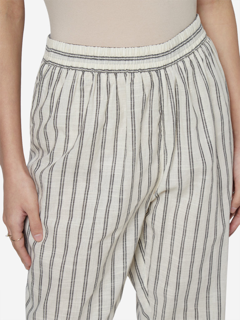 Utsa Off White Striped Cotton Ethnic Crop Pants