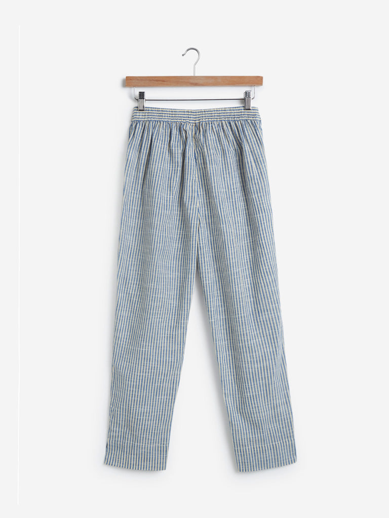 Utsa Off White Striped Slim Ethnic Pants
