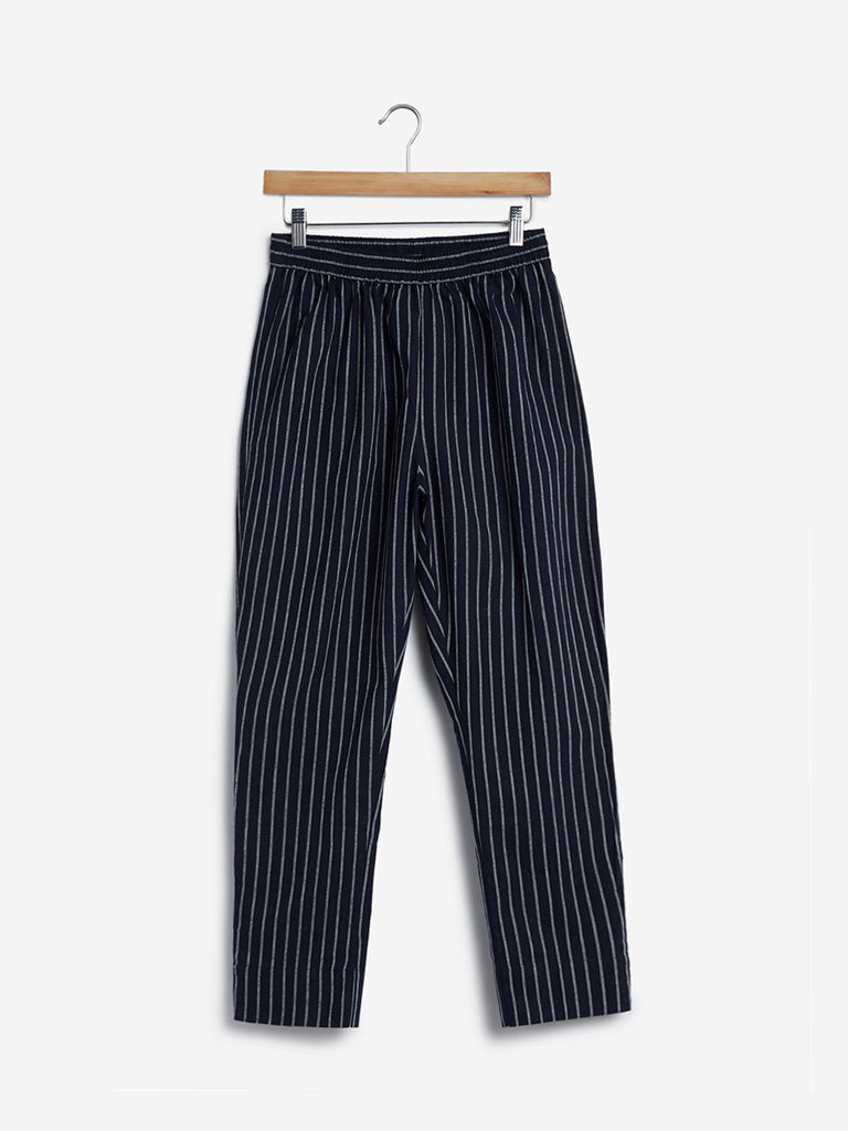 Utsa Black Slim Striped Ethnic Pants