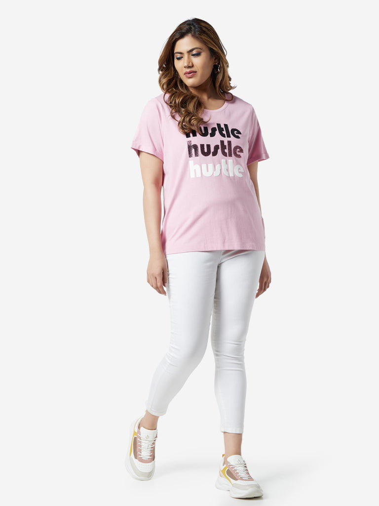 Sassy Soda Curve Pink Text Print Cotton T-Shirt