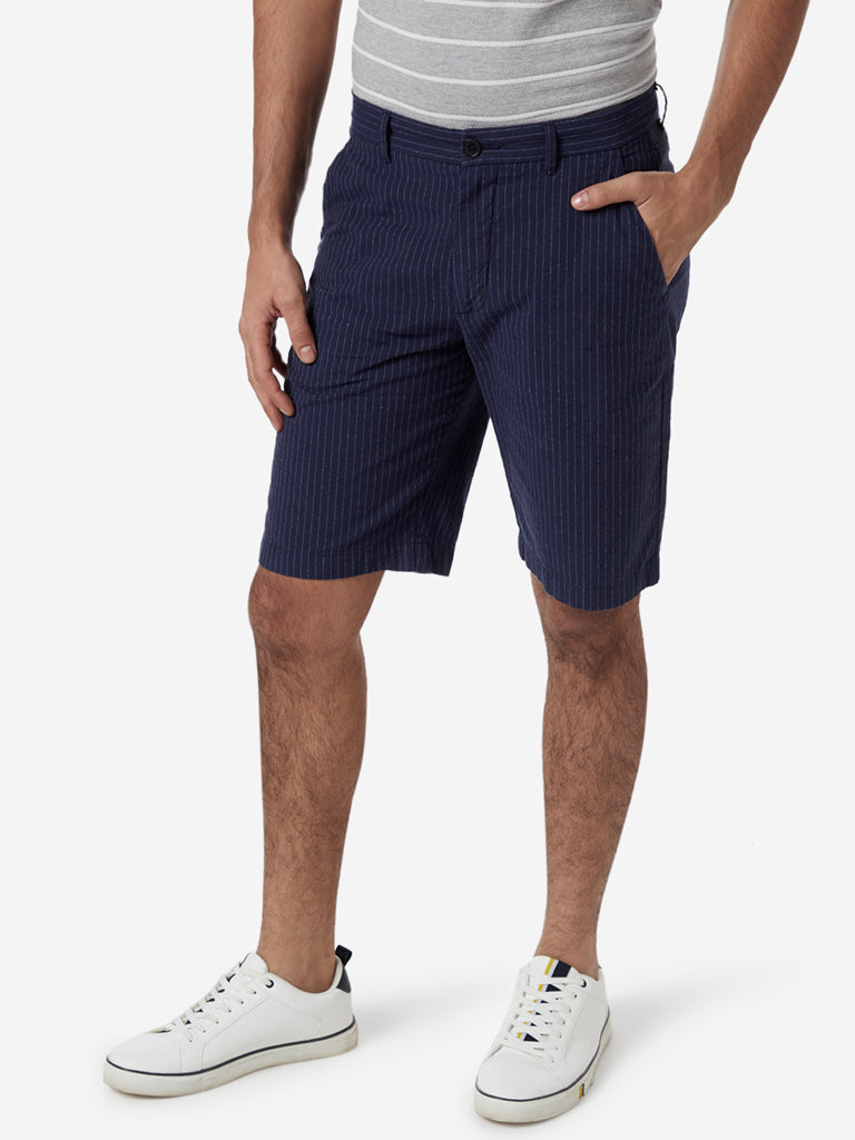 Ascot Navy Striped Relaxed Fit Shorts