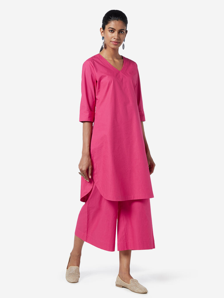 Utsa Dark Pink A-line Pure-Cotton Kurta